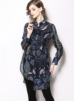 Vintage Stand Collar Printed Asymmetric Blouse