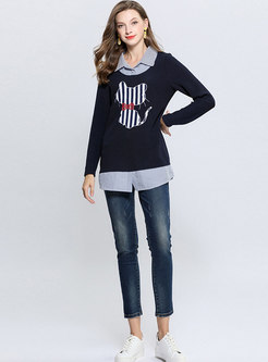 Striped Splicing Lapel Cat Pattern Slim Sweatshirt