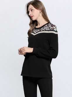 Leopard Splicing O-neck Thick Sweatshirt