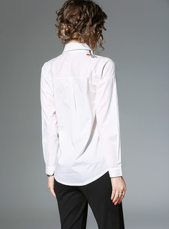 OL Turn-down Collar All Matched Embroidered Blouse