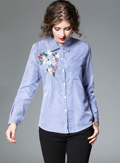Blue Turn-down Collar Striped Embroidered Blouse