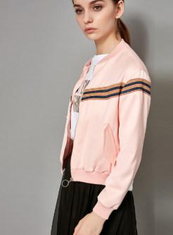Pink Striped Splicing Zip-up Short Jacket