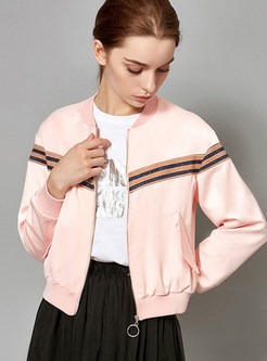 Pink Striped Splicing Zip-up Short Jacket
