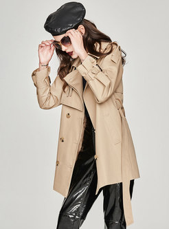 Stylish Solid Color Belted Straight Trench Coat