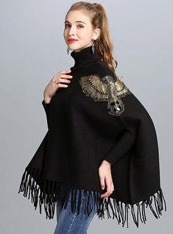 Chic High Neck Bat Sleeve Tassel Loose Sweater