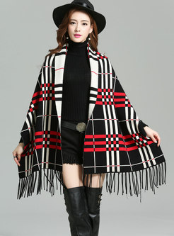 Stylish Plaid Tassel Patch Bat Sleeve Cardigan