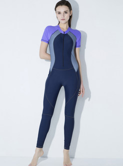 Brief Color-blocked Quick-dry Tracksuit