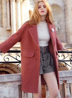 Street Turn Down Collar Pockets Straight Woolen Coat