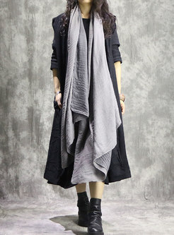 Pure Color Hooded Loose Slit Long Coat