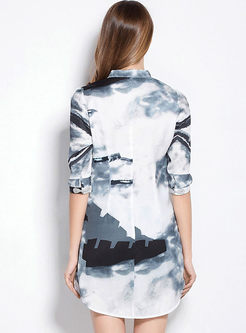 Retro Stand Collar Ink Print Half Sleeve Shift Dress