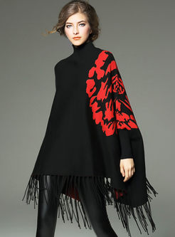 Loose Bat Sleeve Tassel Color-blocked Sweater
