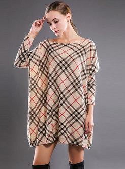 Stylish Grid Slash Neck Loose Knitted Mini Dress