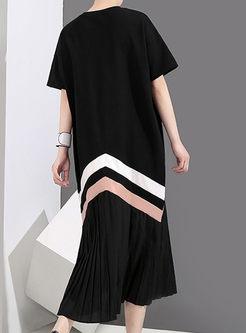 Stylish Splicing Round Neck Pleated Dress