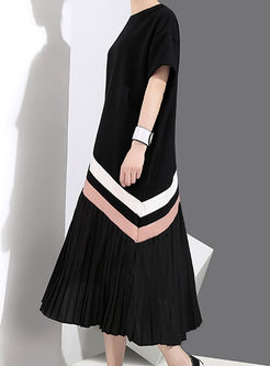 Stylish Splicing Round Neck Pleated Dress