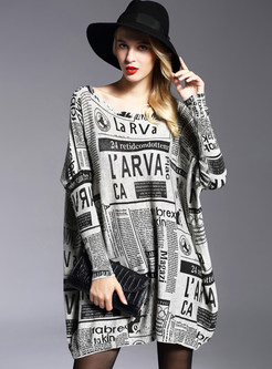 Plus Size Pullover Print Loose Mini Dress