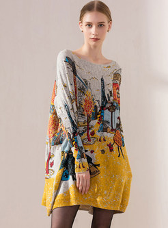 Trendy Bat Sleeve Pullover Print Knitted Dress