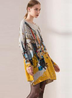 Trendy Bat Sleeve Pullover Print Knitted Dress