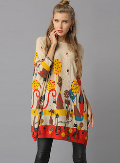 Slash Neck Long Sleeve Plus Size Print Knitted Dress