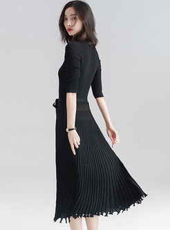 Trendy Pure Color Belted Tassel Patch Knitted Dress