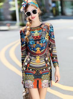 Vintage Multicolor Print Mini Bodycon Dress