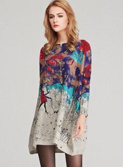 Slash Neck Long Sleeve Print Pullover Mini Knitted Dress