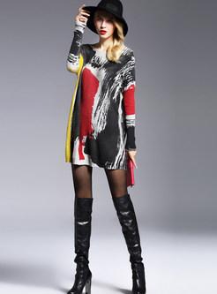 Color-blocked O-neck Long Sleeve Print Mini Dress