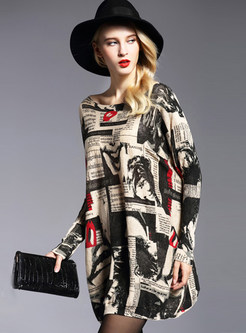 Loose Slash Neck Long Sleeve Print Knitted Dress