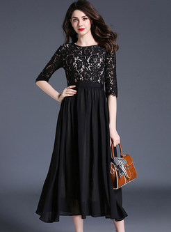 Black Lace Splicing Half Sleeve Maxi Dress