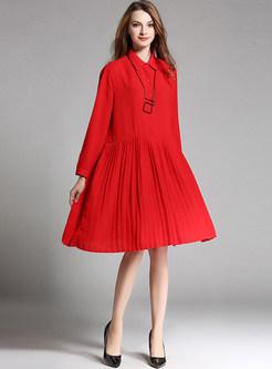 Oversize Lapel Chiffon Pleated Dress