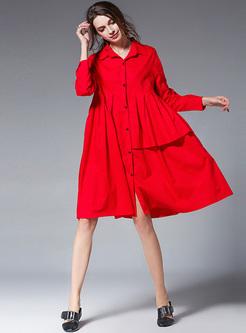 Oversize Asymmetric Lapel Shirt Dress