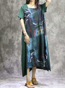 Vintage Print Short Sleeve Loose Maxi Dress
