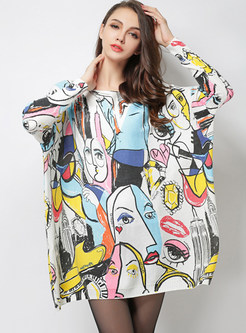 Slash Neck Plus Size Character Print Mini Knitted Dress