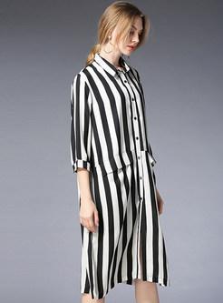 Striped Splicing Loose Chiffon Dress