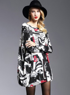 Fashion Print Pullover Loose Long Knitted Dress