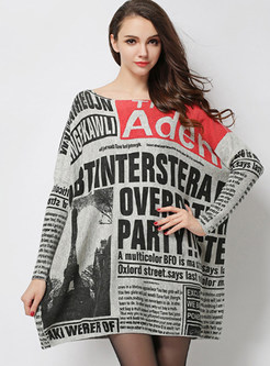 Long Sleeve Letter Print Plus Size Sweater Dress