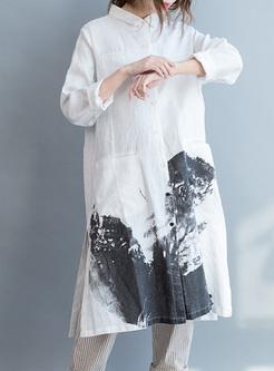 Casual Ink Print Lapel Loose Dress