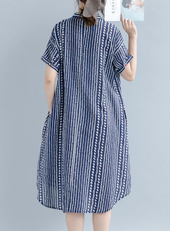 Striped Plus Size Asymmetric Dress