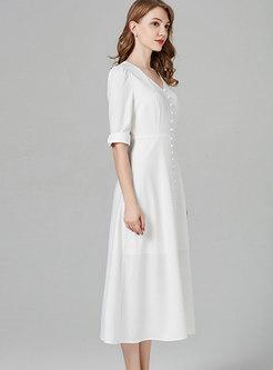Brief White V-neck High Waist Single-breasted Hem Dress