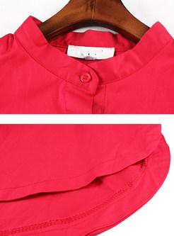 Cotton Slit Three Quarters Sleeve Shift Dress