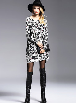 Plus Size Long Sleeve Cartoon Pattern Knitted Dress