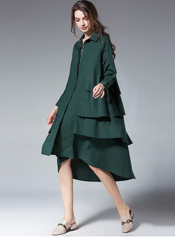 Green Asymmetric Hem Loose Dress