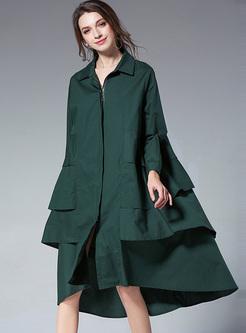 Green Asymmetric Hem Loose Dress