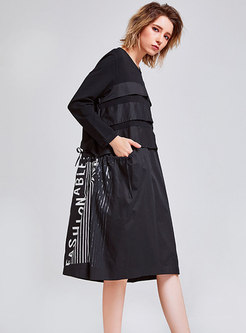 Chic Splicing Print Gathered Waist T-shirt Dress