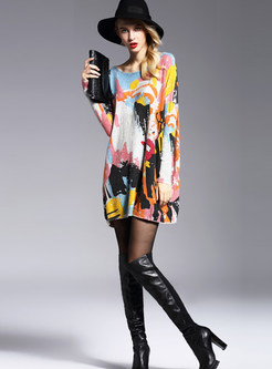 Loose Print Pullover Bat Sleeve Knitted Mini Dress
