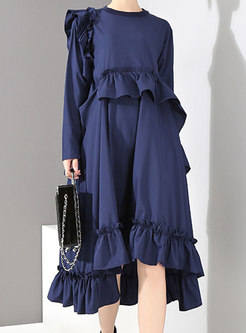 Pure Color High Waist Hem Falbala Loose Dress