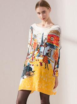 Slash Neck Long Sleeve Print Loose Knitted Dress