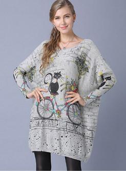 Bat Sleeve Pullover Cat Print Knitted Dress