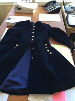 Stylish Quilt Velvet Stand Collar Single-breasted Skater Coatdress