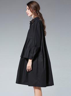 Black Oversize Asymmetric Lapel Loose Dress