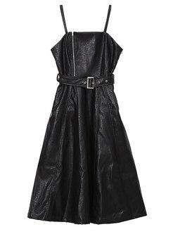 Fashion Slim Self-Tie Sling A Line Suspender Skirt